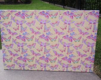 Glitter Pink, Purple & Blue Butterflies on Yellow Bulletin Board, CorkBoard 23x35 Super Soft Glitter Cotton Fabric, Shiny Chrome Nail Heads