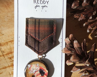 I'm Reddy For You - Wooden Illustrated Red Panda Merit Badge