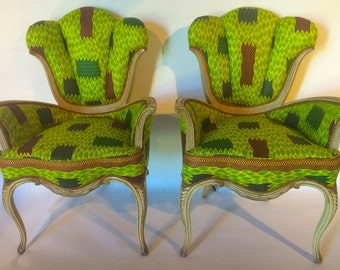 NEW!! Fancy French parlor chairs in African print