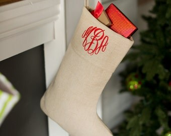 Personalized Christmas Stockings, Monogrammed Christmas Stockings, Juco Cotton Stocking