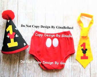 Mickey Mouse Birthday cake smash outfit first clubhouse I am one ears dot print hat diaper cover necktie lil brother 6 9 12 18 24 toddler