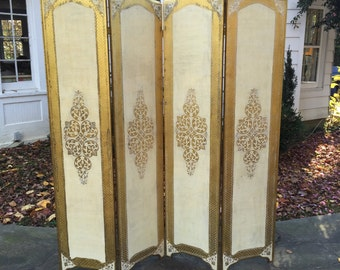 Florentine gold wood 4 panel folding screen