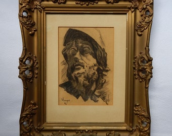 Vintage Charcoal Drawing Portrait of a Man Signed 1945 World War II Era (Ornate Gold Framed)