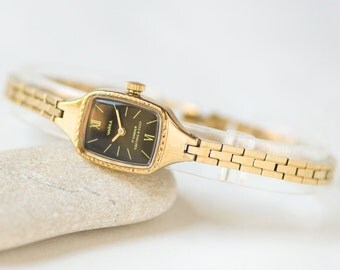 Tiny gold plated women's watch black face, wristwatch bracelet Seagull, girl's watch bracelet small, women's watch petite, delicate watch