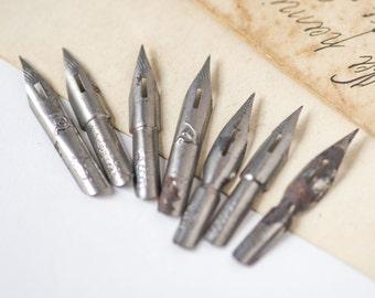 Vintage ink pen nibs, rare nibs from 60s, marked Soviet nibs set of 7, grey nibs used, calligraphers nibs retro