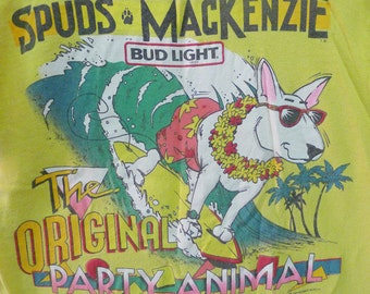 Vintage  80s 1986 Spudz Mackenzie The Original Party Animal Bud Light Beer Yellow T Shirt