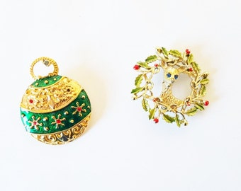 Midcentury Christmas Pins Ornament Wreath Broochs Holiday Jewelry Pins Brooches Set Vintage Jewelry Pins Scarf Hat Pin Gift For Her Under 25