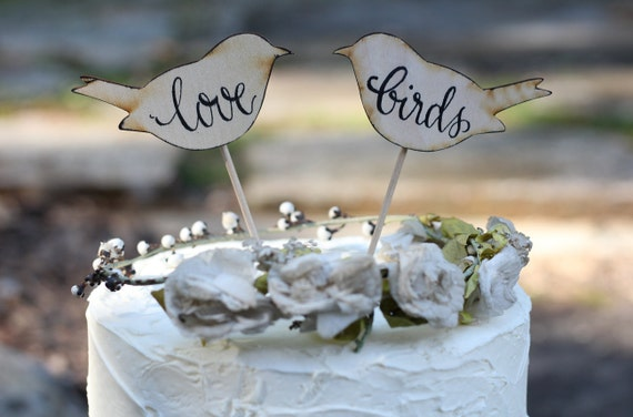Wedding Cake Topper Love Bird Personalized We Do, Love Birds, or Mr and Mrs, Rustic Shabby Chic