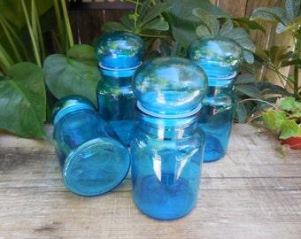 Vintage 1970's Turquoise Blue Belguim Jars