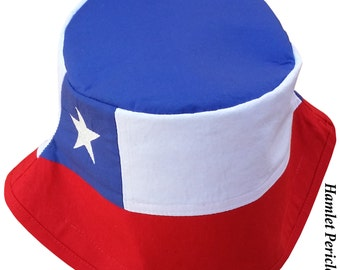 Chile Flag Unisex Bucket Hat   Chilean Flag   Chile Flag   Embroidered Hat   Country Flag Hat   Red White Blue Hat by Hamlet P.   HP21716a