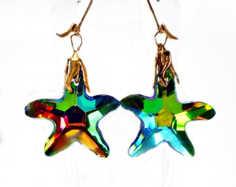 Bright colorful Star, Starfish Glass Earrings, Gold Fill leverback earwires, Multi colors, Brilliant AB coat, Summer wear , celestial star