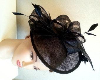 Black fashion hat. Wedding headpiece. Black  fascinator. Kentucky derby hat. Melbourne Cup fascinator