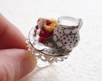 Cherry Pie And Cream Ring. Polymer Clay.