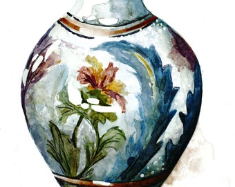 Vintage Vase Watercolor