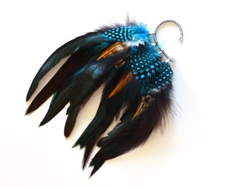 Feather Ear Cuff, Ear Cuff, Ear Wrap, Feather Earrings, Festival Earrings