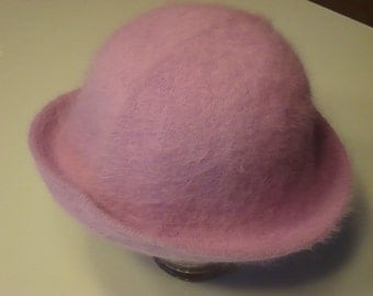 Vintage 1990s Angora Rabbit Hair Cloche Hat, Sz M, Light Purple Color