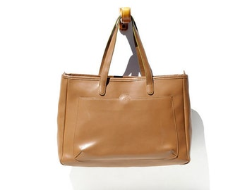 Vintage Tan Leather Tote Bag