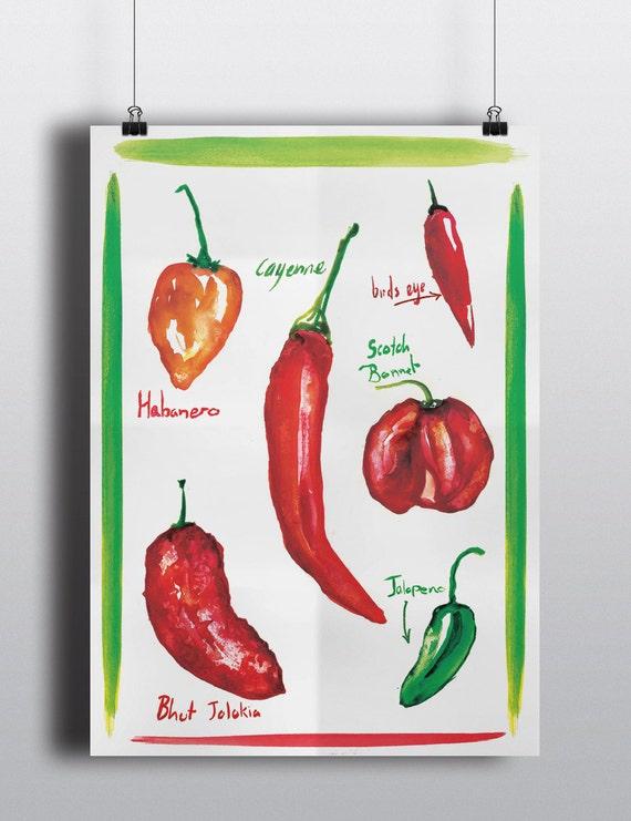 Red Hot Chili Pepper Print Kitchen Decor Watercolor