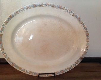 "Antique Ironstone Porcelain M. T. & K. Co. Platter Shabby Cottage Chic 15 1/4"""