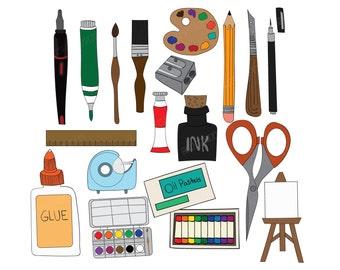 Set of 16 Art Supplies Clipart Doodle Hand Drawn Digital Images Printable Vectors Graphics paint ink markers pastels