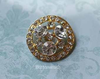 5 to 20 Crystal Rhinestone Buttons (27mm) RS-006 in Gold finish - Perfect for Wedding embellishments  Ring Pillows napkin Rings Brooch