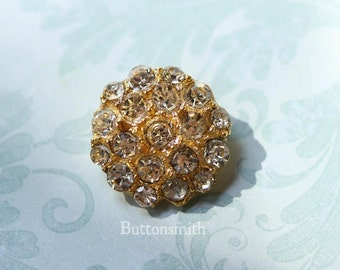 5 to 20 Pieces of Crystal Rhinestone Buttons -Helena- (21mm) RS-009 in gold finish- Perfect for Wedding invitations hair clips crafts