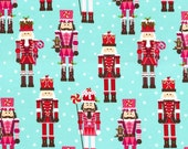Michael Miller Christmas Fabric by the yard Nutcrackers in Aqua 1 yard