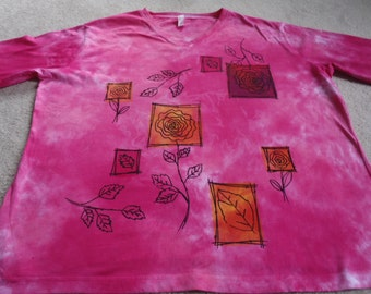 Beautiful woman's 2XL v-neck shirt with 3/4 sleeves, dyed with pinks and fuchsia, abstract flowers, leaves & frames printed, scrapbook look