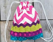 Pink Chevron Drawstring Backpack- Toddler Backpack - Ready To Ship