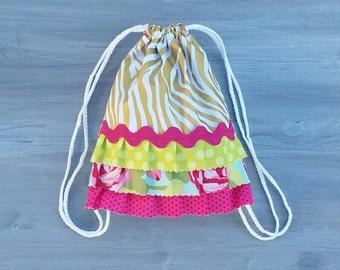 Gold Zebra Drawstring Ruffle Backpack - Toddler Backpack - Gold Pink Green