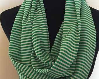 New Striped Green and Cream Long Infinity Scarf