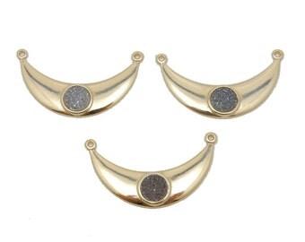 Dark Druzy - Gold Plated Crescent Double Bail Pendant with Round Dark Druzy Accent (S88B3-10)