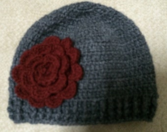 Baby Beanie Hat With Red Rose, Charcoal Baby Beanie