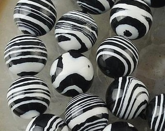 20pcs 8mm Black and White Swirl design Ceramic Round Beads