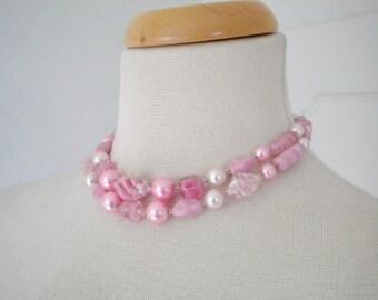 Pink vintage necklace Signed Japan