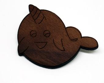 Narwhal Walnut Pin / Brooch, Laser Cut Wood