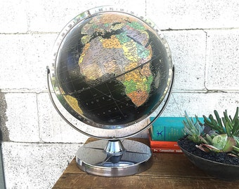 BLACK WORLD GLOBE | 12-inch Replogle Starlight Globe | Vintage (c.1953-1960) Mid-Century Desk Globe | Cold War Era | Metal Dual-Axis