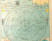 Vintage Constellation Map THE SOUTHERN HEAVENS Star Chart 1 Original 1940 astronomy maps