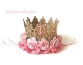 Pink and Gold Crown, Birthday Crown, Flower Crown, Birthday Hat,  Crown with Ribbon, Newborn Crown, Toddler Crown