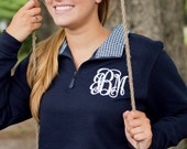 Monogrammed Gingham Pullover - Winter Pullover - Monogrammed Sweatshirt - Monogrammed Gift - Bridesmaids - Christmas gift