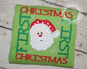 First Christmas Applique Design - Boys or Girl's Christmas Shirt - Holiday Designs - FIRST Christmas - Kid's Christmas shirt