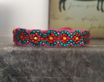 Crystal Friendship Bracelet (Red Pink Blue Colours)