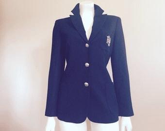 Ralph Lauren Blazer / Crest / Logo / 80s Jacket / Fall Fashion / Preppy Clothing / Collegiate