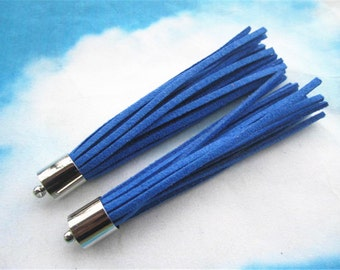 10pcs 80mm Silver Metal cap Royal Blue suede leather tassel pendant charms findings