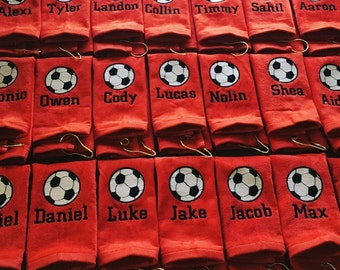 Personalized soccer towel, fast turn around, great seller, soccer team towels, soccer gift, message for team orders