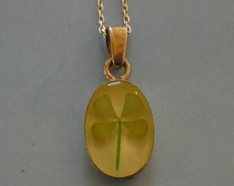 Vintage Sterling Four Leaf Clover  -  Pendant Necklace - Sterling Silver Pendant - Good Luck Charm