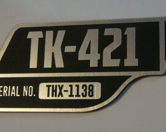 Custom STORMTROOPER TK-421 ID Number Plate Star Wars Imperial Clone Trooper