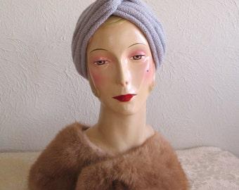 Turban Hat Hand Knit Vintage 1940s Pattern Pure Wool Handmade