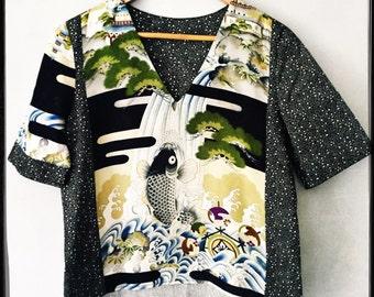 silk & cotton v neck woven tee, handmade from part of a vintage kimono