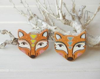 Fox brooch,orange fox pin, fox jewelry,woodland